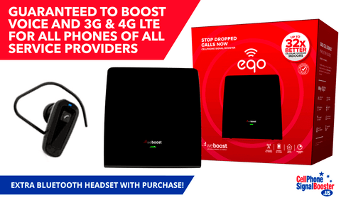 weBoost EQO Signal Booster Kit & Retail Packaging with Extra Bluetooth Headset!