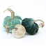 "The NEW Turquoise Trio of 3 velvet pumpkins includes a 6"" Lagoon, 5"" Ocean, and 4"" Bone."