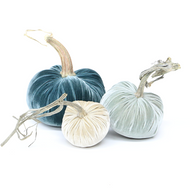 "The NEW Coastal Trio of 3 velvet pumpkins includes a 6"" Wedgewood, 5"" Spa, and 4"" Bone."