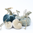 "The NEW Coastal Large Set of 5 velvet pumpkins includes a 8"" Wedgewood, 6"" Spa, 5"" Bone, 4"" Bone, and 3"" Spa."
