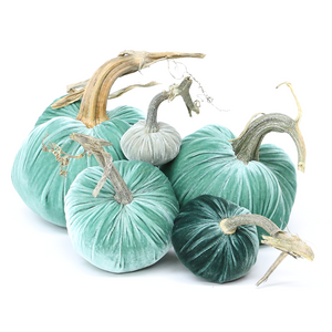"""The NEW Turquoise Large Set of 5 velvet pumpkins includes a 8"""" Lagoon, 6"""", 5"""" Lagoon, 4"""" Ocean, and 3"""" Spa."""