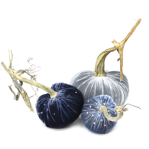 "The denim Trio includes a 6"" Gray, 5"" Sapphire and a 4"" Denim velvet pumpkin with Swarovski Crystals"