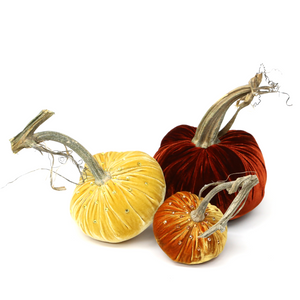 "The Sunset Trio includes a 6"" Persimmon, 5"" Sunflower and a 4"" Carrot velvet pumpkin with Swarovski Crystals"