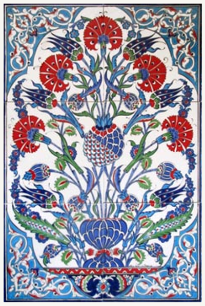 6-c hand painted tile panel Iznik Art from Turkey
