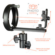 Flash Hotshoe Bracket with Bowens Mount - T Shape