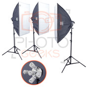 Softbox Studio Lighting Kit | 3x5 Bulb Softboxes | 2250w