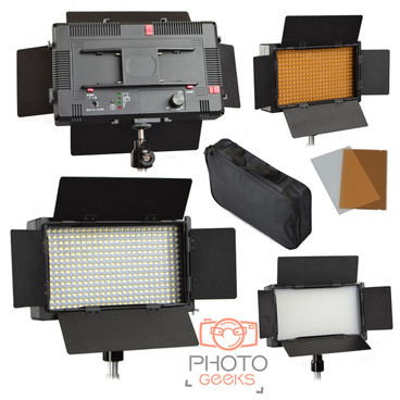 LED light image from different angles showing the front, back, barndoor attachment and carry bag.