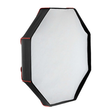 A view of the constructed soft box, complete with the white diffuser cover.