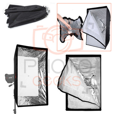 A multi view image showing the softbox at different angles and folded away size