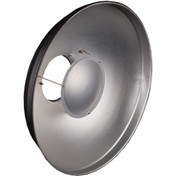 The beauty dish facing forwards, showing the silver parabolic disc and nose cone.