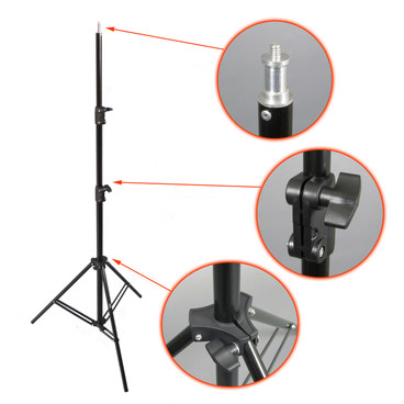 Erected light stand with details arrowed and seperate images showing closer detail..