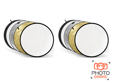 Two reflectors showing all reflective surface colours included.