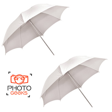 A set of two opened shoot through umbrella, showing their structure.