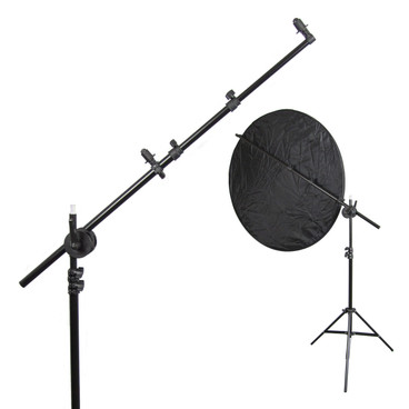 The light stand and boom arm connected, holding a reflector disc.
