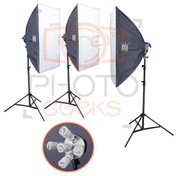 3 Softbox Lighting Kit | 5925w  85w Bulb Upgrade | 50 x 70cm | 12x85w , 3 x55w CFL
