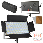 LED panel image showing how the item looks from the front, back and in its carry case.
