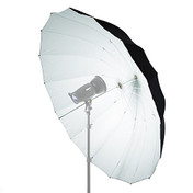 Mega black and white parabolic umbrella fully opened.
