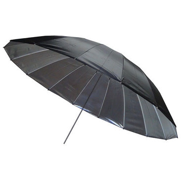 The mega brolly in black and silver fully opened, showing its inner and outer colours.