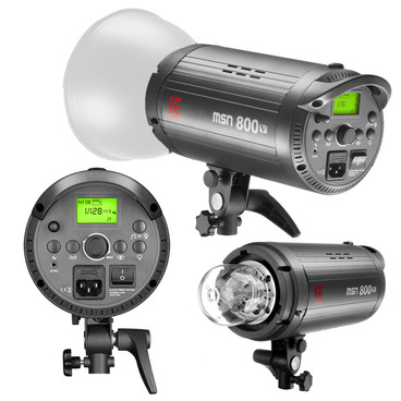 Three views of the 800w flash head showing it at different angles.