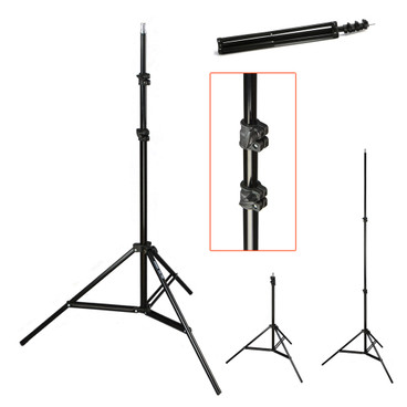 Multiple views of the light stand showing the stand fully set-up, folded down and a close-up image showing the locking mechanism on the centre pole.