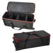 A view of the carry case full closed and one with the zip top open showing the padding and dividers inside.