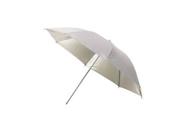The umbrella open, showing reflective silver inside and soft white outer surface.