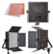 SIde front, Side and back view of the LED panel with two included gels displayed