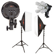 A multi view of all the kits equipment featuring the LuxLight Logo