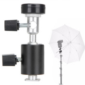 Side view and image showing where it connects to a stand and holds an umbrella.