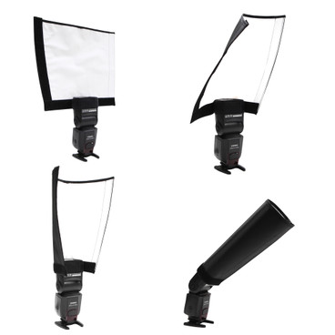 multi view image depicting the reflector in four example shapes for bouncing light.