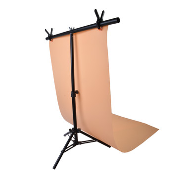 The T bar and stand set-up with an orange vinyl backdrop, showing how the stand and vinyl backdrops connect