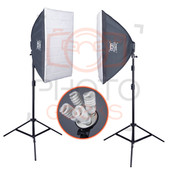 Soft box lighting studio kit image showing both soft boxes fully constructed.