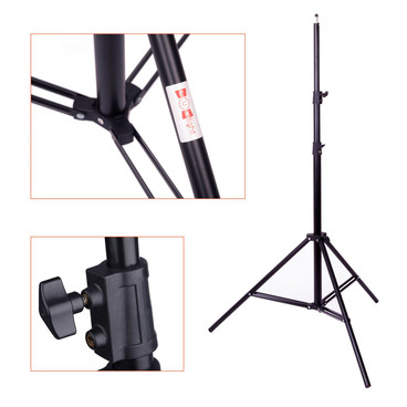 Three images including a fully set-up stand and close ups of the shaft knuckle component and tripod legs.
