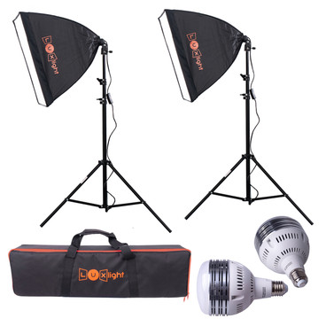 The full kit set-up with both softboxes erected and connected to the stands, the carry case and LED bulbs are displayed.