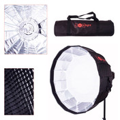 Multi image showing softbox shape, honeycomb grid, carry bag and umbrella open design.