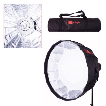 Multi image showing softbo, a close up of the inner surface and carry bag