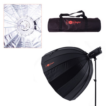 multi view showing softbox shape, carry bag and umbrella style opening.