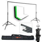 Background Support Stand Kit & 3 Muslin Backdrops | White Black Green | PhotoGeeks