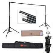 The full frame set-up showing carry bag, cross bar poles, side stands and mount type.