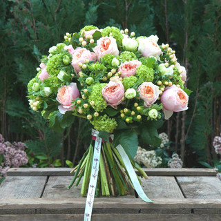 Peach 'David Austin' Roses, Guelder, Peach Hypericum and White Anemones