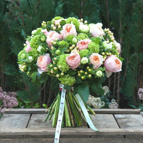 Peach 'David Austin' Roses, Guelder, Peach Hypericum and White Anemones