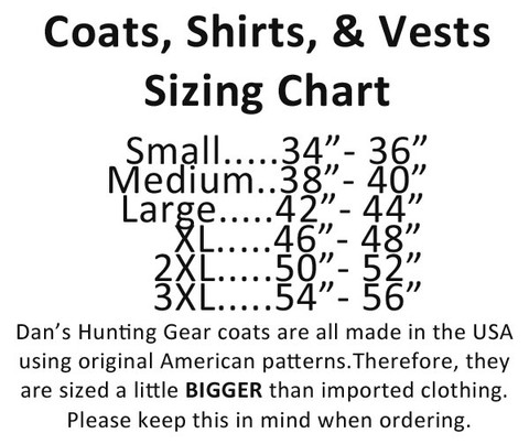 Sizing chart for Brown Duck Shirt by Dan's Hunting Gear® | Briarproof Super Store