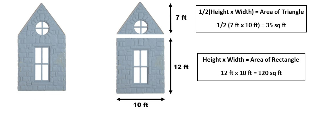 How to calculate area of a wall with peaked roof.