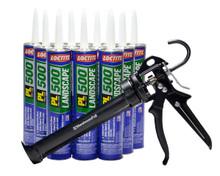 Contents: Pro Caulk Gun, 6 Cartridges PL 500 Adhesive
