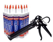 Contents: Pro Caulk Gun, 12 Cartridges Power Grab Adhesive