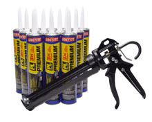 Contents: Pro Caulk Gun, 12 Cartridges PL 3X Premium Adhesive
