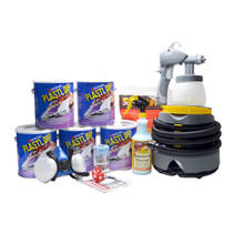 Contents: 5 Gallons Plasti Dip Spray, Earlex Spray Station 3500, Respirator, Tek Cloth, Detailers Choice, Knit Rags, Tape & Drape