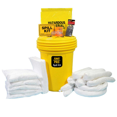 AWarehouseFull 30 Gallon Oil Only Spill Kit complete with absorbents, goggles, gloves, guidebook and disposal bags.