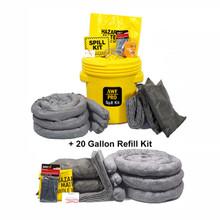 AWarehouseFull 20 Gallon Universal Spill Kit & 20 Gallon Universal Spill Refill Kit