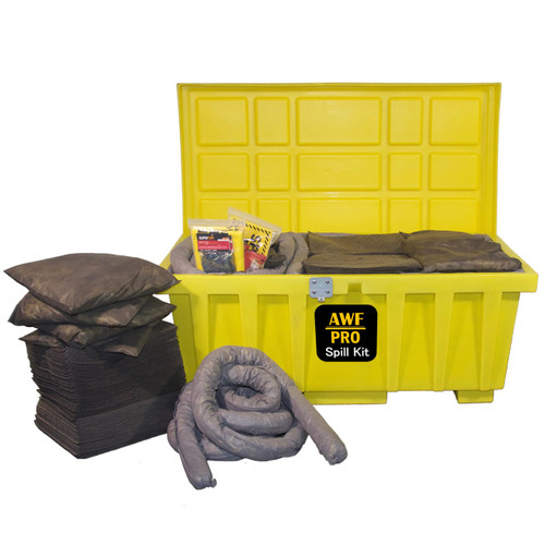 Our 110 Gallon Spill Kit features a HDPE Storage Box, Absorbent Pads, Socks and Pillows